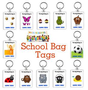 Personalised Kids/Childrens School Bag Tag Keyrings - Pick Colour/Text - Custom