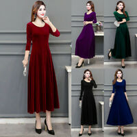 Ladies Women Velvet Long Sleeve  Flared Skater A-Line Evening Party Dress c998