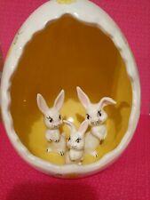 Mc Vintage Ceramic Easter Egg Diorama Baby Bunnies Kitschy Ooak Anthropomorphic