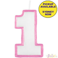 JUNGLE ANIMALS GIRLS 1ST BIRTHDAY PARTY SUPPLIES NUMBER 1 PINK CAKE CANDLE