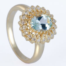 Solid 14K Rose Gold Natural Diamonds Aquamarine Engagement Ring Prong Setting