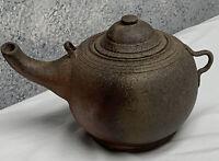 Antique Primitive Stoneware Tea Pot Pottery Rustic Farm House Large Kettle
