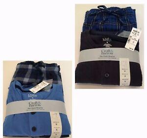 Croft & Barrow Men's Sleep Henley & Flannel Two-Piece Pajama Set M L XL XXL