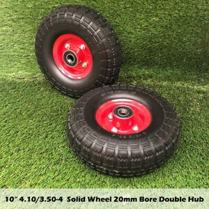 """2pcs 10"""" 4.10/3.50-4 20mm Bore Solid Wheelbarrow Wheel Tyre Trolley Wheels"""