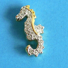 Matchbox Bling! Goldtone SEAHORSE with Diamantes ~ Brooch ~ LIKE NEW