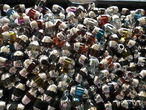 1/2 Pound Oval Silver overlay GLASS BEADS Jewelry Making Supply lot