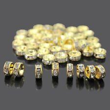 1000PCS Golden Austira Clear Crystal Rhinestone Rondelle Spacer Beads DIY 6mm