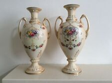 Antique c1920 Pair of Crown Ducal Vases/Urns in Cream and Floral Detail