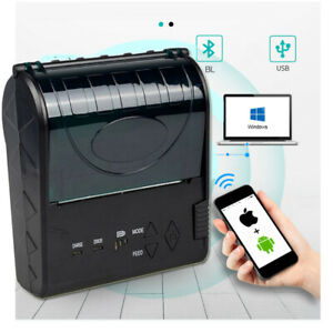 Portable 80mm Bluetooth Thermal Receipt Printer Barcode Printer for Android IOS