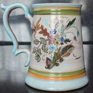 """Glyn Colledge Design Denby Pottery Tankard, Hand-Painted 5.75"""" 1960's"""