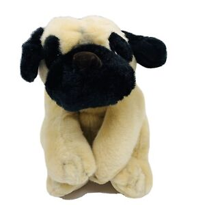 Pug Plush Russ Berrie Tan Black Stuffed Dog Toy Animal Floppy Bean Bag Realistic