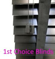 MADE TO MEASURE WOODEN VENETIAN BLIND BLACK WITH TAPES REAL WOOD 35MM SLATS
