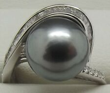 SOLID 18CT WHITE GOLD NATURAL DIAMOND & TAHITIAN PEARL DRESS RING - VAL $3930