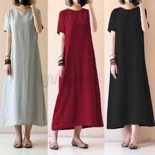 US STOCK Womens Short Sleeve Baggy Cotton Kaftan Maxi T-shirt Dress Plus Size