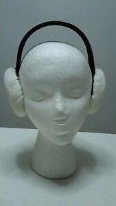 NEW REAL WHITE SHEARED  MINK FUR EARMUFFS MADE IN USA
