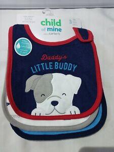 Child Of Mine 3pk Waterproof Infant Baby Feeding Bib Boy Puppy Dog Red Blue