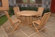 "Windsor's Premium Grade A Teak, 39"" Round DropLeaf Teak Table W/4 Folding Chairs"