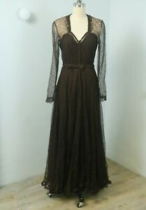 Vintage 40s WWII Bombshell Sheer Brown Lace Evening Dress and Bias Rayon Slip S