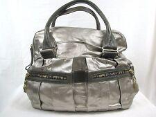 SEE BY CHLOE Pewter Leather Metallic Handbag Purse Satchel