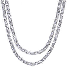 "Men's Iced Out 4 mm CZ 20"" / 22"" Double Set Silver Plated Tennis Chain Necklace"