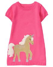 Gymboree Baby Girl 6-12 Months Unicorn University Pink Sweater Dress NEW