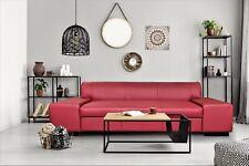 Rot Leder 3 Sitzer 238cm Sofa Weinrot Echtleder Couch Echtes Leder Rindsleder