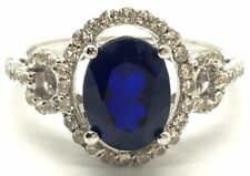 Sterling Silver 925 Petite Oval Tanzanite CZ Halo Link Pave Band Cocktail Ring