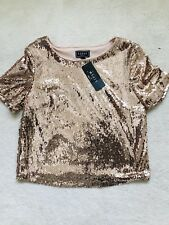 BNWT Ladies Bronze / Pink Sequin Short Sleeve Party Top Size UK 12 by Lipsy