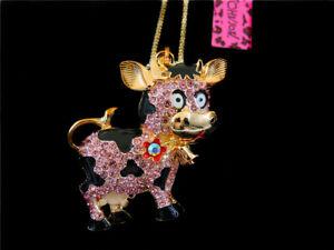 Betsey Johnson Pink Enamel Crystal Milk Cow Pendant Long Chain Animal Necklace