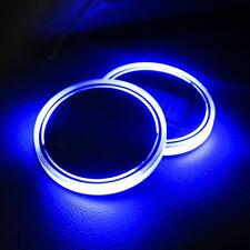 2x Blue Car Cup Holder SUV Solar Pad Mat Cover Energy Bottom LED Light Trim USA