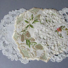3 Antique Handmade DOILIES Bobbin LACE Hand Embroidered SOCIETY SILK Flowers BOW