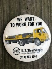 Uss U.S. Steel & Supply trucking paperweight pocket mirror Gas Oil Soda
