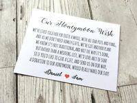 Personalised Wedding Money Poem Card Honeymoon Gift Request White A7