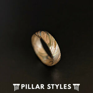 6mm Rose Gold Ring Damascus Steel Ring Mens Wedding Band - Unique Damascus Rings