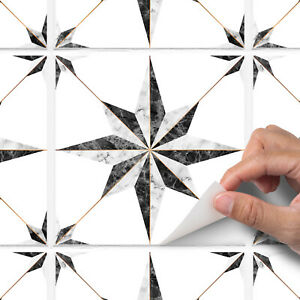 Mosaic Marble Stars Tile Stickers - Copper / Gold Effect - White / Black - T30