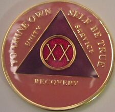 Pink Alcoholics Anonymous 20 Year Aa Medallion Coin Token Chip Sobriety Sober