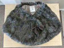 Faux Fur Stole Shrug  by Karen Millen  Grey/Brown   Ribbon Bow Brooch