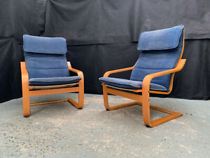 EB1821 Pair of Ikea Beech & Blue Fabric Cantilever Chairs Mid-Century Modern