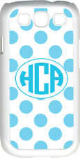Circle Monogram White and Baby Blue Polka Dot Samsung Galaxy S3 Case Cover