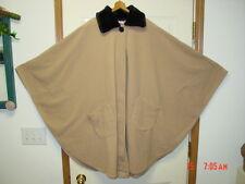 NWT Ladies Women Cape Cloak Coat Camel Elegant Black Faux Fur Collar LeModa