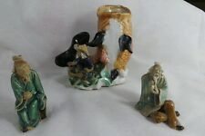 ANTIQUE CHINESE CLAY MUDMEN LOT OF 3 FROM 1900-1940 MADE IN CHINA
