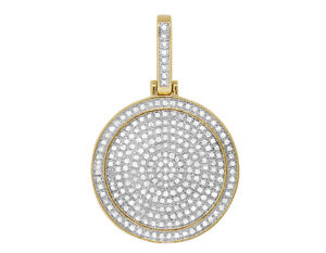 "10K Yellow Gold Genuine Diamond Men's Round Medallion Pendant Charm 1.25"" 2/3 CT"