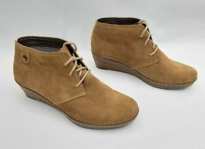 """CLARKS SOFTWEAR BROWN SUEDE 2"""" WEDGE LACE UP ANKLE BOOTS UK6 VGC FREE UK P&P!!"""
