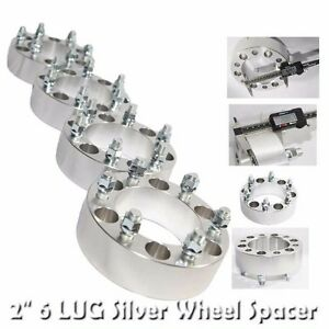 4pcs 53MM Wheel Spacer for GMC 88-00 C2500/88-98 K1500 6 LUG ONLY Silver 2""