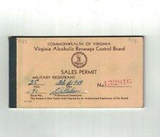 Virginia Alcoholic Beverage Control Board Sales Permit Book 1943