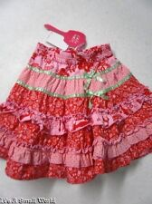 Cakewalk Elles in Wonderland Mixed Print Pink Red Twirl Tiered Skirt Size 3 NWT