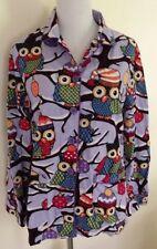 Nick & Nora Lavender Owl Pajama Top Small Hats Snow  X-mas 100% Cotton Sleep