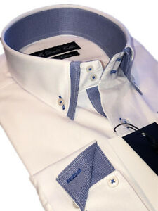 MENS SHIRT SMART FORMAL DOUBLE COLLAR LONGSLEEVE SOFT WHITE WITH BLUE CHECKS