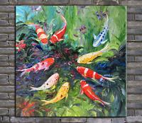 oil painting, palette knife painting ,original painting koi fish