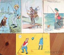 § PESCA 1904/1950 - 4 CARTOLINE UMORISTICHE
